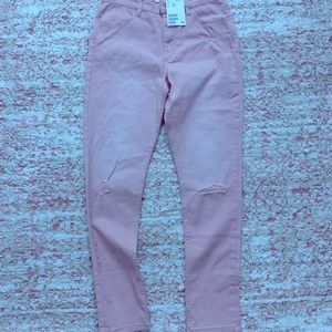 Blush colored distressed pants